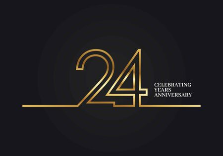 24 Years Anniversary logotype with golden colored font numbers made of one connected line, isolated on black background for company celebration event, birthday Illusztráció
