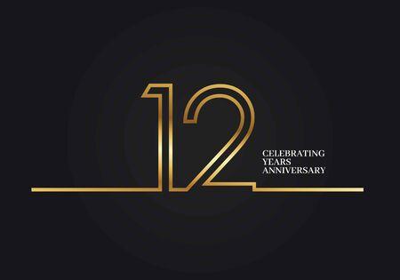 12 jaar verjaardagslogo met goudkleurige lettertypenummers gemaakt van één verbonden lijn, geïsoleerd op zwarte achtergrond voor bedrijfsfeest, verjaardag