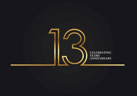 13 Years Anniversary logotype with golden colored font numbers made of one connected line, isolated on black background for company celebration event, birthday