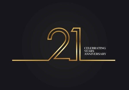 21 Years Anniversary logotype with golden colored font numbers made of one connected line, isolated on black background for company celebration event, birthday