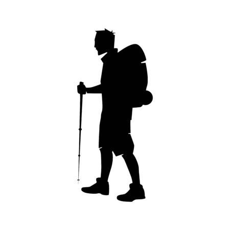 Vector illustration: Silhouette of a climber. Isolated hiker on white background