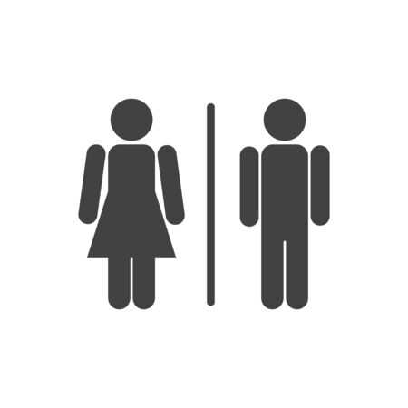Man and woman bathroom sign. Toilet icon. Four variations. Abstract alternatives.