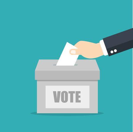 Concepto de votación en línea. Poner o insertar papel de votación a mano en las urnas en la pantalla de un portátil. Diseño plano Ilustración de vector
