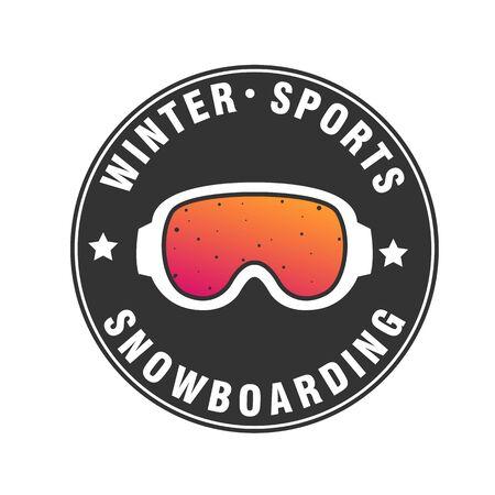 vector snowboarding ski goggles ,mask flat icon. Snowboard, winter activity equipment, tools object design.
