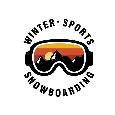 Snowboarding glasses icon. Flat illustration of snowboarding glasses vector icon for web design Stock Illustratie