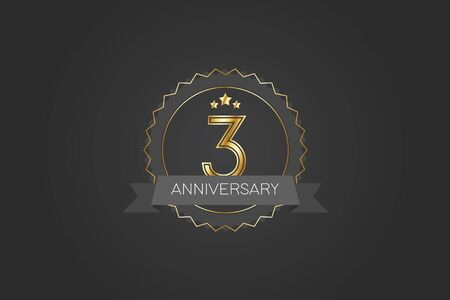 3 years anniversary design logotype 3D golden stylized modern shape winged shield on black background for celebration event