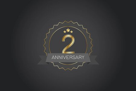 2 years anniversary design logotype 3D golden stylized modern shape winged shield on black background for celebration event