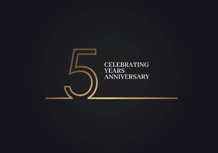 5 Years Anniversary logotype with golden colored font numbers made of one connected line, isolated on black background for company celebration event, birthday Logo