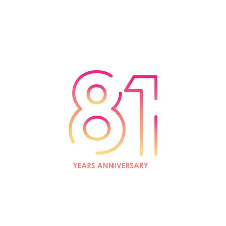 81 anniversary logotype with gradient colors for celebration purpose and special moment