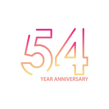 54 anniversary logotype with gradient colors for celebration purpose and special moment Stock Illustratie