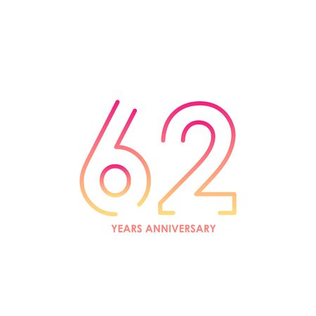 62 anniversary logotype with gradient colors for celebration purpose and special moment