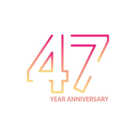 47 anniversary logotype with gradient colors for celebration purpose and special moment