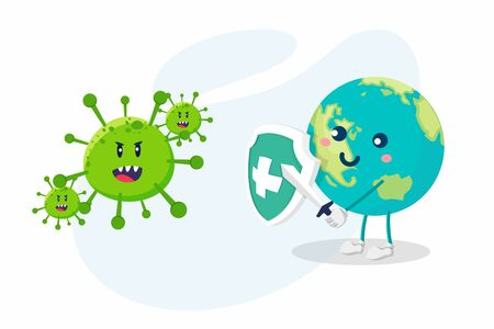 Coronavirus concept. World / Earth uses swords and shields to fight the Corona virus. The concept of fighting against viruses. Vettoriali