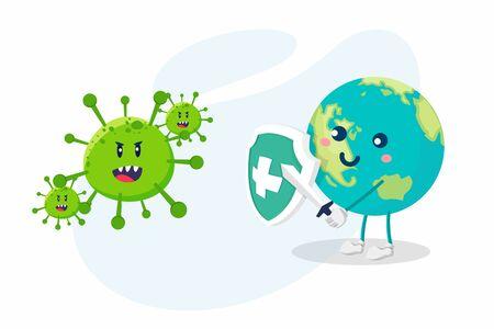 Coronavirus concept. World / Earth uses swords and shields to fight the Corona virus. The concept of fighting against viruses. Vektorové ilustrace