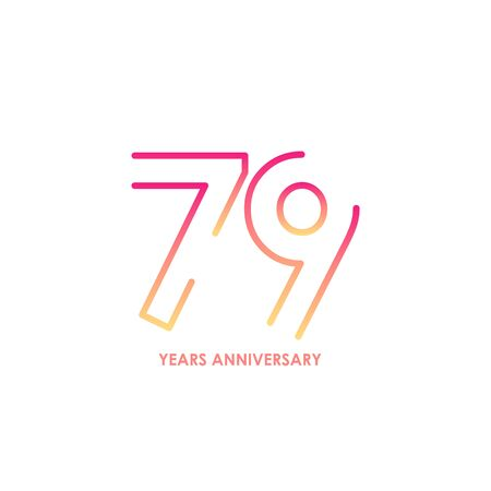 79 anniversary logotype with gradient colors for celebration purpose and special moment Stock Illustratie