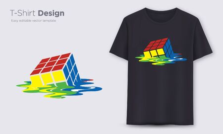 Rubik Cube. Stylish t-shirt and apparel modern design, typography, print, vector illustration. Global swatches.