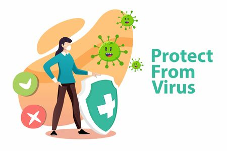 Vector illustration protect from virus. protect from covid-19 viruscorona virus concept. Woman fight the virus. defend from virus. avoiding corona viruses.