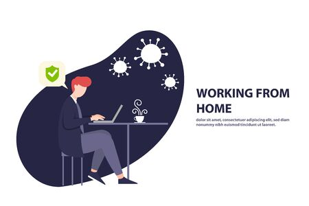 Illustrations concept coronavirus COVID-19. The company allows employees to work from home to avoid viruses. Vector illustrate.