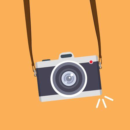 Vintage camera on color background. Retro style toned picture. Minimalistic concept Vecteurs