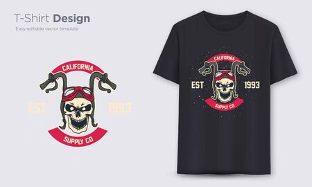 moto handlebar skull. Stylish t-shirt and apparel modern design, typography, print, vector illustration. Global swatches. Banque d'images - 144311174