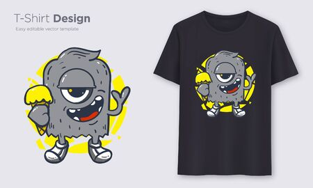 Black Monster. Stylish t-shirt and apparel modern design, typography, print, vector illustration. Global swatches. Иллюстрация