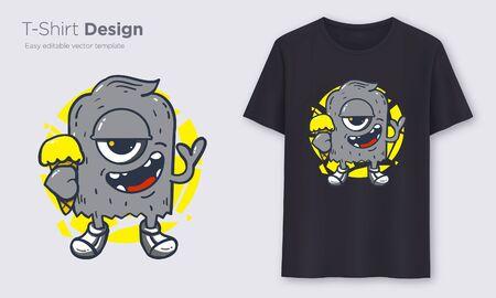 Black Monster. Stylish t-shirt and apparel modern design, typography, print, vector illustration. Global swatches. Illustration