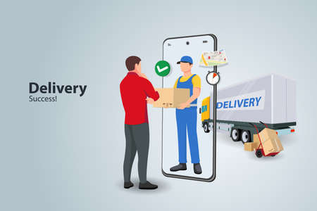 delivery boy flat design vector concept. guy courier stays with the box near the door that looks like a smartphone and gives it to the customer. Ilustración de vector