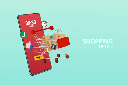 shopping cart package by trolley on mobile phone, Order package in E-commerce by app.