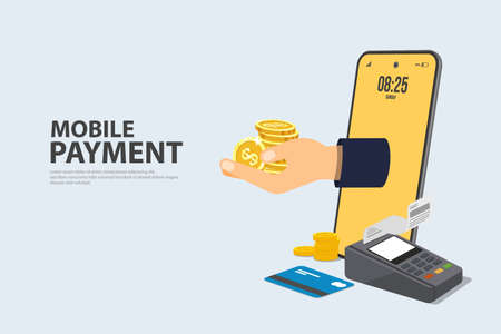 Concept Online and mobile payments Vector illustration pos terminal confirms the payment using a smartphone, Mobile payment, online banking and debit card. Ilustração