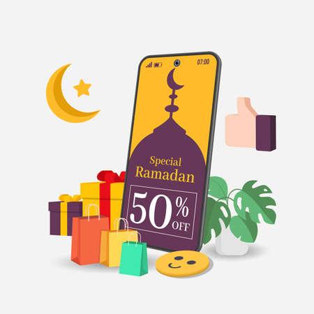 Cashback Ramadan 50%. Ramadhan sale banners. Smartphone from moon, gifts box, thumb, trolley. Greeting card, banner, poster. Eid Mubarak, vector illustration Vetores