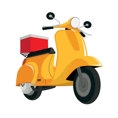 delivery a red scooter vector illustration
