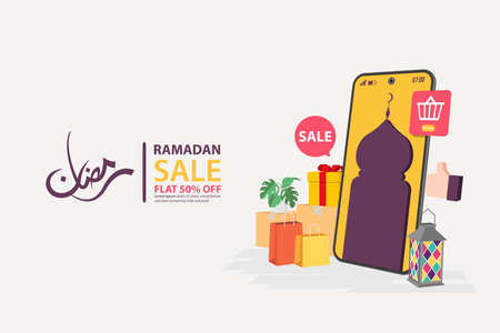 Ramadan sale banners on mobile, discount and best offer tag, label or sticker set on occasion of Ramadan Kareem and Eid Mubarak, vector illustration Vetores