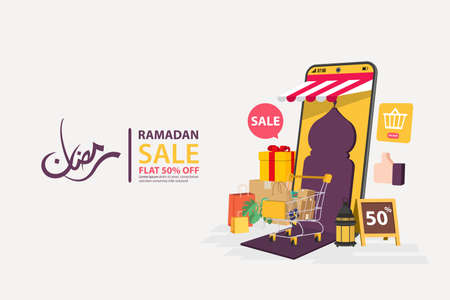 Ramadan sale banners on mobile online, discount and best offer tag, label or sticker set on occasion of Ramadan Kareem and Eid Mubarak, vector illustration Vetores