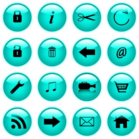 A Set of coloured web icons to save you the trouble of making them by hand you self. They come in a variety of colours they DO include a video camera icon.