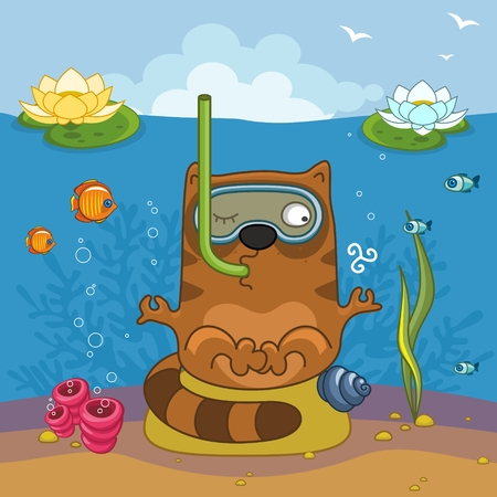 finger fish: Cat under the water doing yoga and breathing through a tube