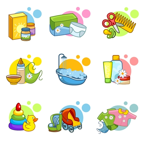 Baby icons depicting food toys and children39s accessories.