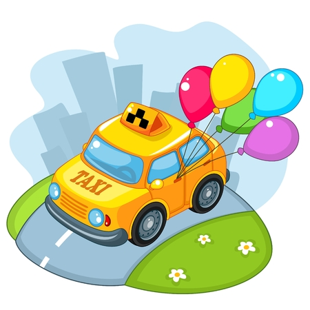 Taxi rides on the road with balloons Illustration
