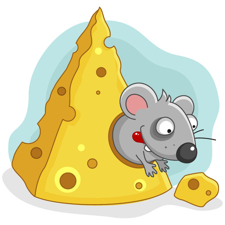 reaches: Little hungry mouse reaches for a piece of cheese.