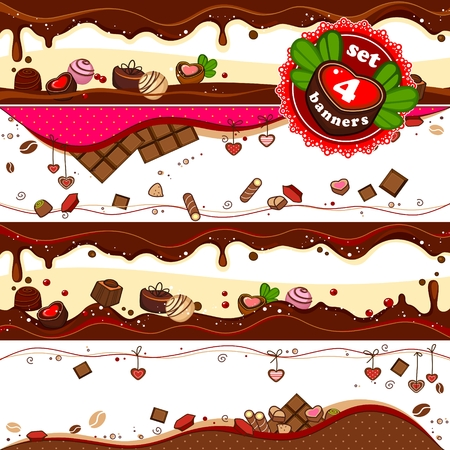 tubule: Set of 4 banners with candy, sweets and chocolates