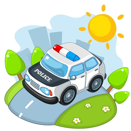 quickly: Police car traveling on the road