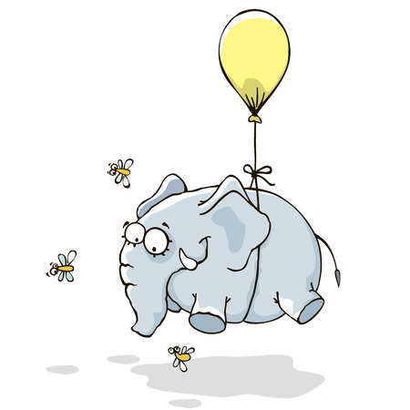 high up: Elephant flying on a yellow balloon. Illustration