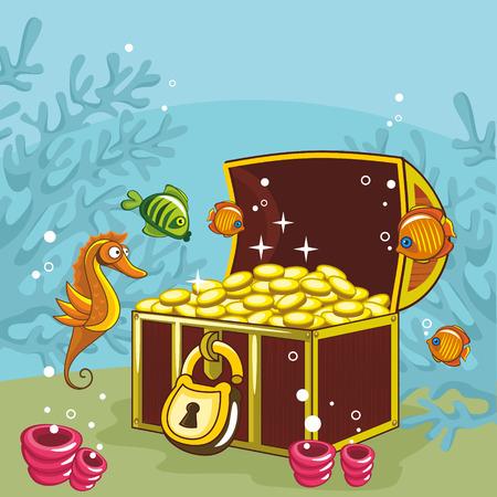open sea: Open the treasure chest at the bottom of the sea Illustration