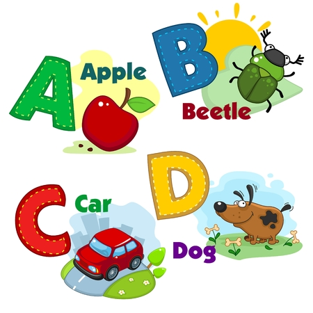 Alphabet with letters and pictures to them. Vectores