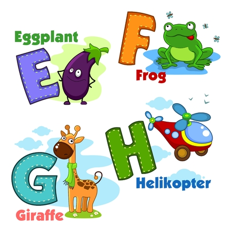 flyweight: Alphabet with letters and pictures to them. Illustration