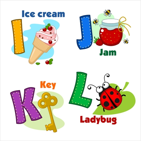 alphabet letters: English alphabet IJKL with letters and pictures to them Illustration