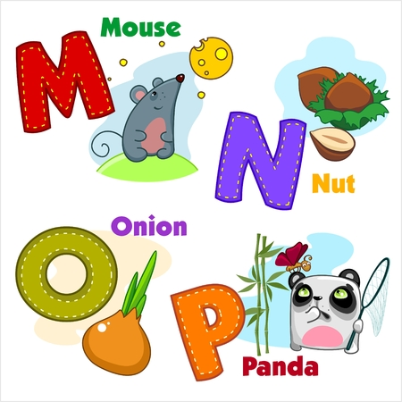 English alphabet MNOP with letters and pictures to them