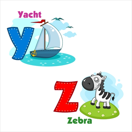 alphabet letters: English alphabet YZ with letters and pictures to them