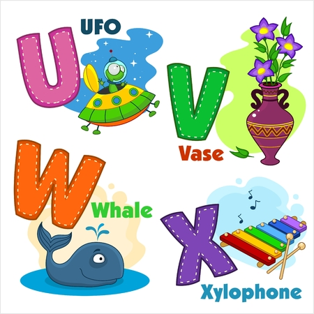 flower alphabet: English alphabet UVWX with letters and pictures to them