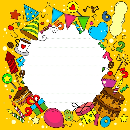 tea party: Birthday Card with elements of a circle Illustration