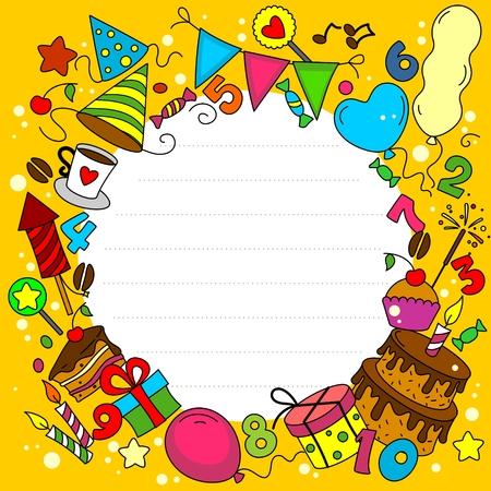 taza de te: Tarjeta de cumplea�os con los elementos de un c�rculo Vectores